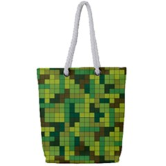 Tetris Camouflage Forest Full Print Rope Handle Tote (small) by jumpercat