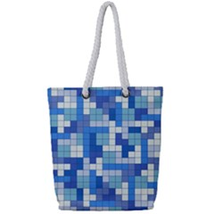 Tetris Camouflage Marine Full Print Rope Handle Tote (small) by jumpercat