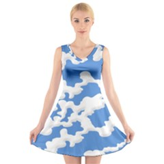 Cloud Lines V Neck Sleeveless Skater Dress by jumpercat