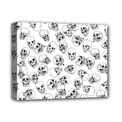 A Lot Of Skulls White Deluxe Canvas 14  X 11  by jumpercat