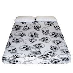 A Lot Of Skulls White Fitted Sheet (queen Size) by jumpercat