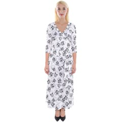A Lot Of Skulls White Quarter Sleeve Wrap Maxi Dress by jumpercat
