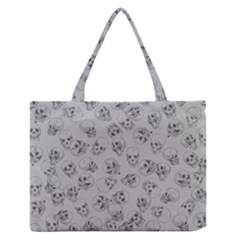 A Lot Of Skulls Grey Zipper Medium Tote Bag