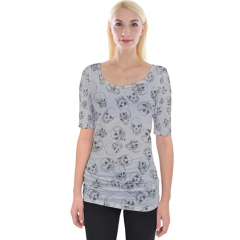 A Lot Of Skulls Grey Wide Neckline Tee by jumpercat