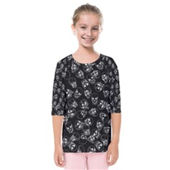 A Lot Of Skulls Black Kids  Quarter Sleeve Raglan Tee
