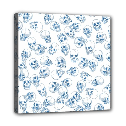 A Lot Of Skulls Blue Mini Canvas 8  X 8  by jumpercat