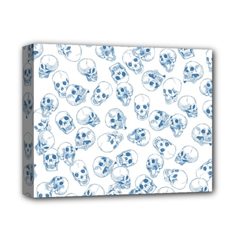A Lot Of Skulls Blue Deluxe Canvas 14  X 11  by jumpercat