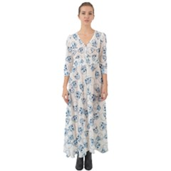 A Lot Of Skulls Blue Button Up Boho Maxi Dress by jumpercat