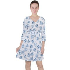 A Lot Of Skulls Blue Ruffle Dress
