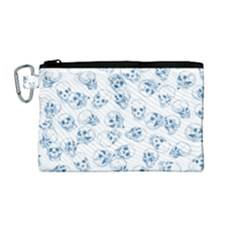 A Lot Of Skulls Blue Canvas Cosmetic Bag (medium)