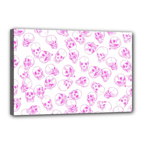 A Lot Of Skulls Pink Canvas 18  X 12  by jumpercat