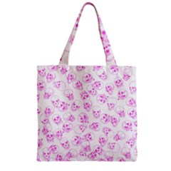 A Lot Of Skulls Pink Zipper Grocery Tote Bag by jumpercat