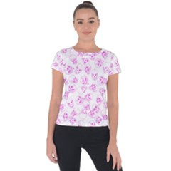 A Lot Of Skulls Pink Short Sleeve Sports Top