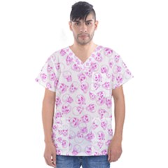 A Lot Of Skulls Pink Men s V Neck Scrub Top by jumpercat