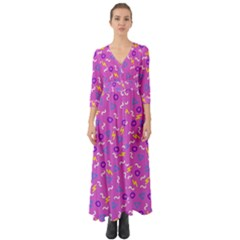 Retro Wave 2 Button Up Boho Maxi Dress by jumpercat