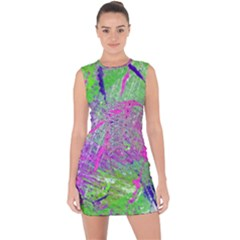 Ink Splash 03 Lace Up Front Bodycon Dress