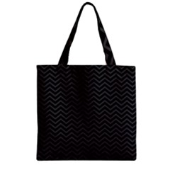 Dark Chevron Zipper Grocery Tote Bag by jumpercat