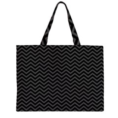 Dark Chevron Zipper Large Tote Bag by jumpercat