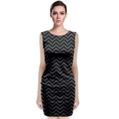 Dark Chevron Classic Sleeveless Midi Dress
