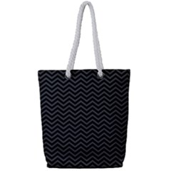 Dark Chevron Full Print Rope Handle Tote (small) by jumpercat