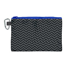 Dark Chevron Canvas Cosmetic Bag (large) by jumpercat