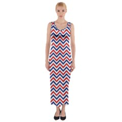 Navy Chevron Fitted Maxi Dress