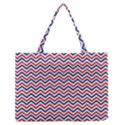 Navy Chevron Zipper Medium Tote Bag View1