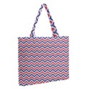 Navy Chevron Zipper Medium Tote Bag View2