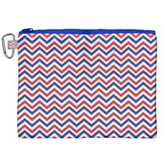 Navy Chevron Canvas Cosmetic Bag (xxl) by jumpercat