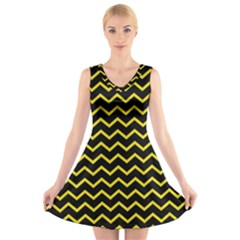 Yellow Chevron V-neck Sleeveless Skater Dress by jumpercat