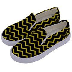 Yellow Chevron Kids  Canvas Slip Ons by jumpercat