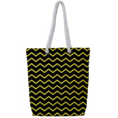 Yellow Chevron Full Print Rope Handle Tote (small) by jumpercat
