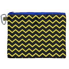Yellow Chevron Canvas Cosmetic Bag (xxl) by jumpercat