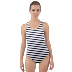 Basic Horizontal Stripes Cut-out Back One Piece Swimsuit by jumpercat