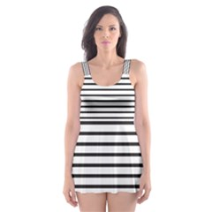 Basic Horizontal Stripes Skater Dress Swimsuit by jumpercat