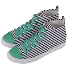 Basic Horizontal Stripes Women s Mid Top Canvas Sneakers by jumpercat