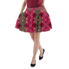 Christmas Colors Wrapping Paper Design A-line Pocket Skirt