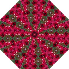 Christmas Colors Wrapping Paper Design Hook Handle Umbrellas (large) by Fractalsandkaleidoscopes