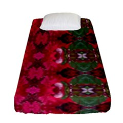 Christmas Colors Wrapping Paper Design Fitted Sheet (single Size) by Fractalsandkaleidoscopes