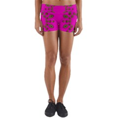 Sweet Hearts In  Decorative Metal Tinsel Yoga Shorts