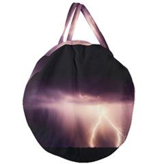 Storm Weather Lightning Bolt Giant Round Zipper Tote