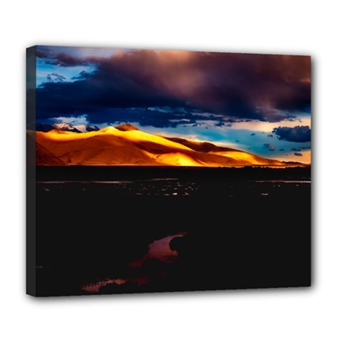 India Sunset Sky Clouds Mountains Deluxe Canvas 24  X 20   by BangZart