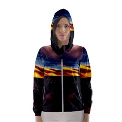 India Sunset Sky Clouds Mountains Hooded Wind Breaker (women)