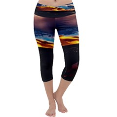 India Sunset Sky Clouds Mountains Capri Yoga Leggings