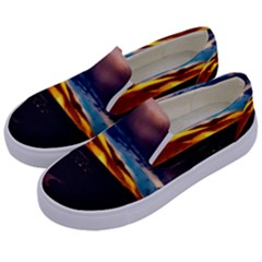 India Sunset Sky Clouds Mountains Kids  Canvas Slip Ons by BangZart