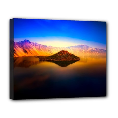 Crater Lake Oregon Mountains Deluxe Canvas 20  X 16   by BangZart