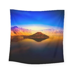 Crater Lake Oregon Mountains Square Tapestry (small) by BangZart