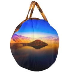 Crater Lake Oregon Mountains Giant Round Zipper Tote by BangZart
