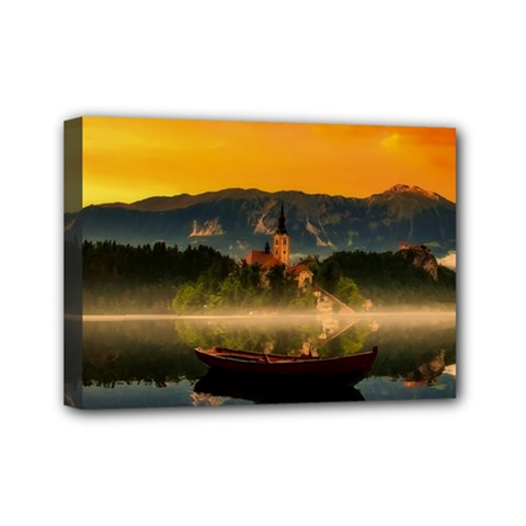 Bled Slovenia Sunrise Fog Mist Mini Canvas 7  X 5