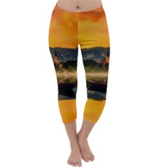 Bled Slovenia Sunrise Fog Mist Capri Winter Leggings
